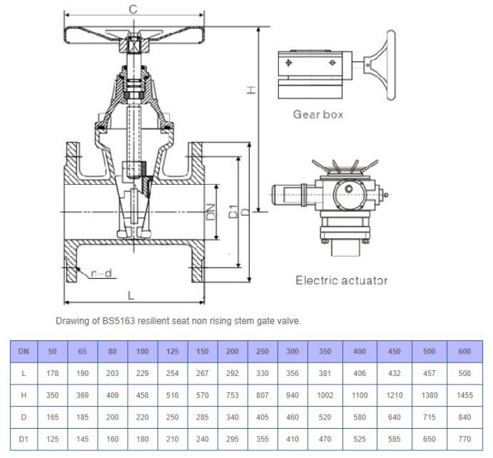 Drawing & Dimension of BS5163 Resilient Gate Valve